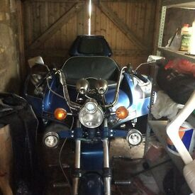 Trike for sale . 1300cc Blue with customised paint job needs some work but MOT till September 2017