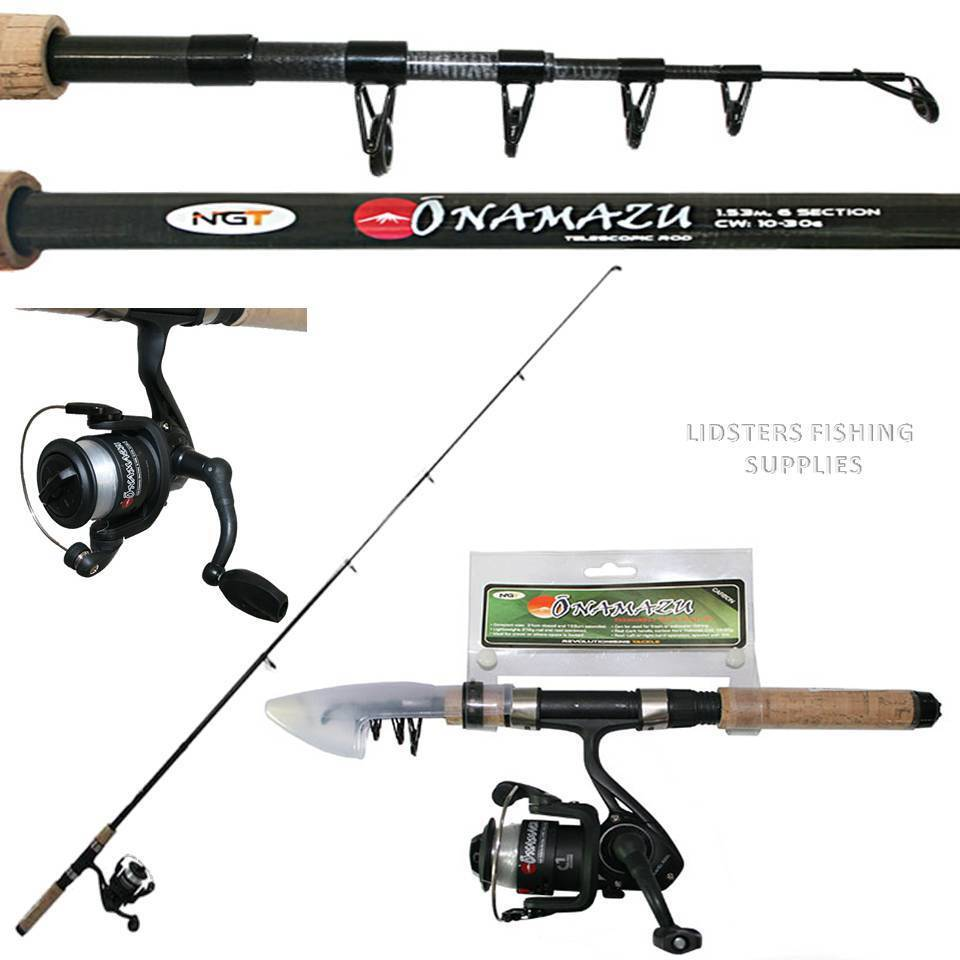 Mini Travel Telescopic 5ft Rod /& Reel Combo Namazu Fishing Travel Bag