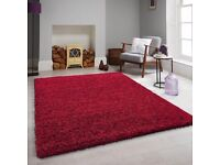 Brand New red rug shaggy thick carpet size 230 x 160 cm dining room living room £75