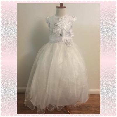 Girls White First Holy Communion Dresses with Satin Jacket Flower Girl Dress - First Holy Communion Dress