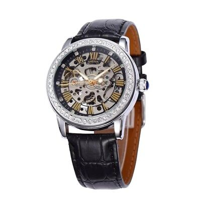 Shenhua Women Crystal Transparent Skeleton Automatic Mechanical Band Wrist Watch