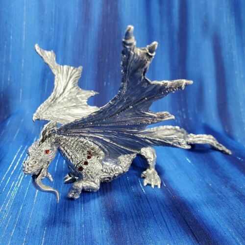 Jeweled Dragon Pewter Figurine Rawcliffe US Made Red Swarovski Crystal Eyes *NEW