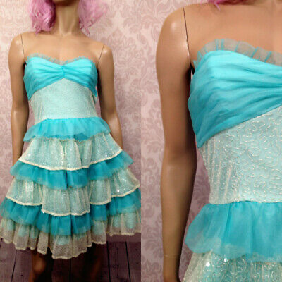 Betsey Johnson Party Prom Tiered Ruffle Dress Size 8 Blue White Sparkle Beaded