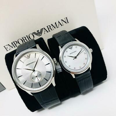 NEW Emporio Armani Men's and Women's AR9111 Black Leather Two Watch Set Gift Box