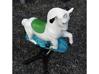 Outdoor Garden rocking horse kids toy, base made of cast iron on a spring