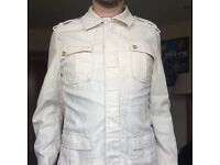 Men's Mod Style White Military Jacket Large