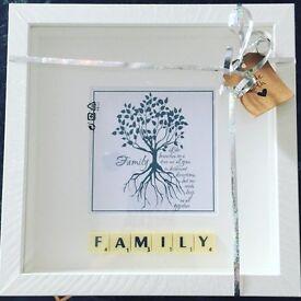 White Framed ; Family Scrabble Picture