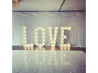 Hire our Starlight white dance floor, Giant light up letters and Starlight backdrop curtain