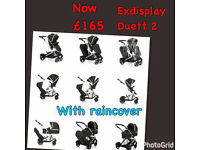 EXDISPLAY HAUCK DUETT 2 DOUBLE TANDEM PUSHCHAIR PRAM BUGGY FROM 0-3 yrs WITH CARRYCOT LIKE ICANDY