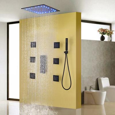Black Bath Shower Panel Rain Faucet 20 Inch  Temperature LED Shower Head