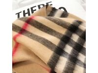 women long check scarf, red, blue, apricot, limited stock UK