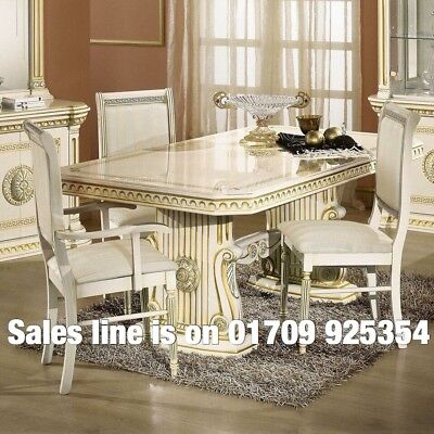 New Versace Design Italian Rossella Beige/Gold Dining Table and 6 Chairs Set