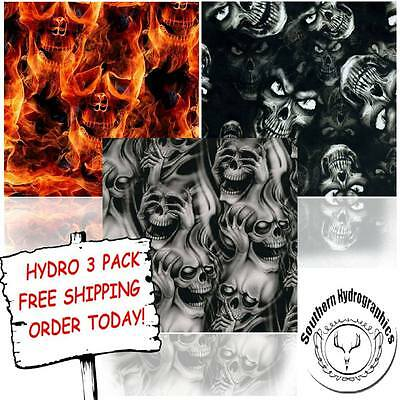 Hydrographic Film Water Transfer Printing Film Hydro Dip Evil Skull Hydro 3 Pack