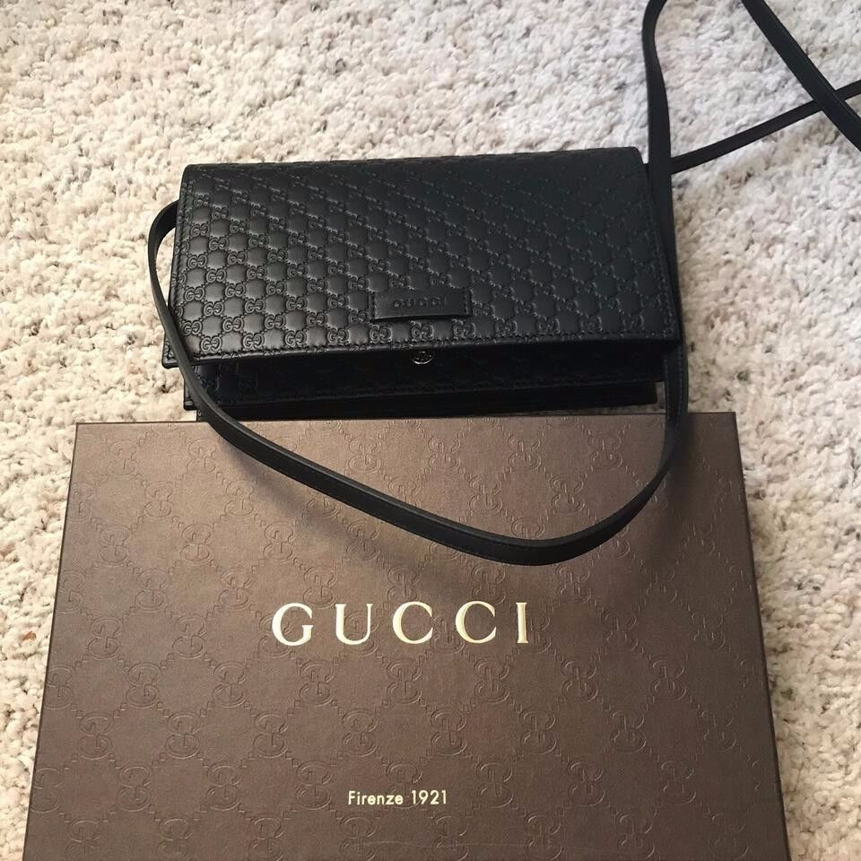BRAND NEW Gucci Guccissima GG Leather Crossbody Wallet Bag P
