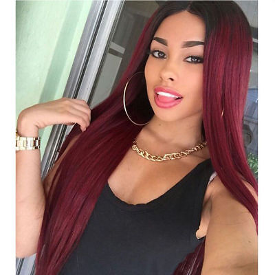 US Fashion Ombre Wine Red Hair Lace Front Wig Long Straight Full Wigs for - Wigs Red Hair