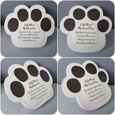 Pet Memorial Remembrance Stone Effect Paw Sadly Missed Special Dog Beloved Cat Beloved Pet Memorial Stone