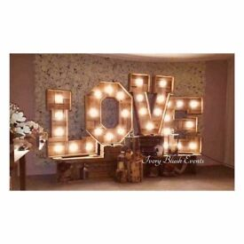 HIRE 3ft Wooden Light Up Love Letters - £130 Manchester