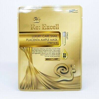 Re:Excell Luxury Care Snail Placenta Ample Mask 25ml x 5ea Anti Wrinkle K-Beauty