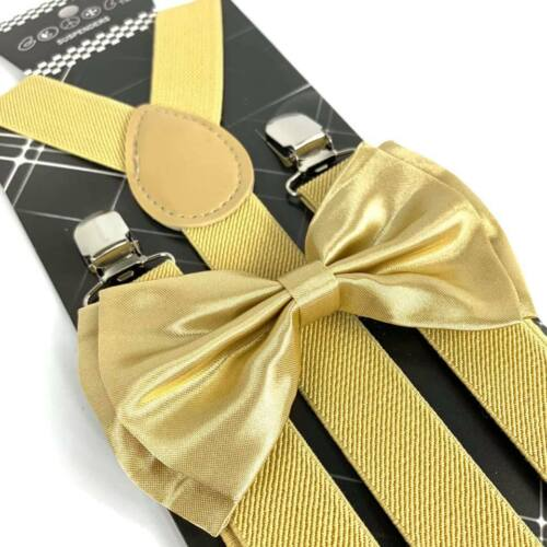 Champagne Gold Suspender And Bow Tie Set Tuxedo Wedding Formal Accessory
