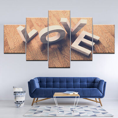 Love Block Letters Wooden Cubes Poster 5 Panel Canvas Print Wall Art Home Decor