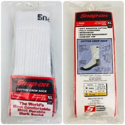 New White Sealed Large Snap On Crew Socks. Made In The USA FREE FAST SH