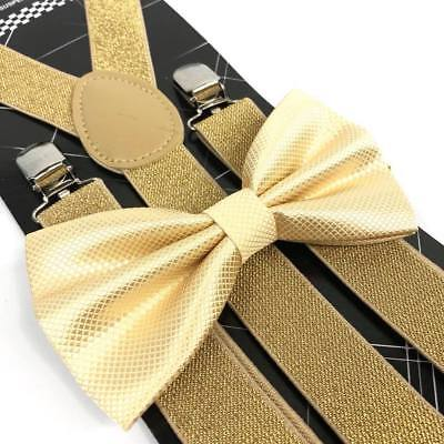 Gold Glitter Bow (Coool Soft Gold Diamond Bow Tie & Glitter Suspenders Wedding Prom Party)
