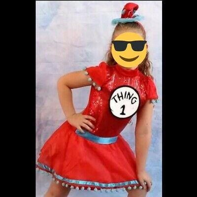 Girls Size 8/10 Dr Seuss Thing 1 Dress Up Halloween Costume