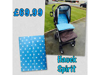 EXDISPLAY HAUCK SPIRIT BUGGY STROLLER IN BLACK WITH BRAND NEW COSYTOES SUITABLE FROM BIRTH TO 3.