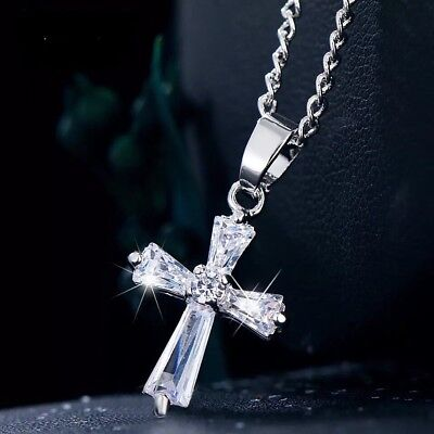 Small Cross Silver Necklace White Gold Plated CZ Crystal Pendant Girl Women N101