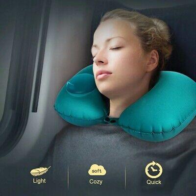 Cuscino da Viaggio Gonfiabile Forma U Auto Aereo Cuscini per Dormire Salva Collo