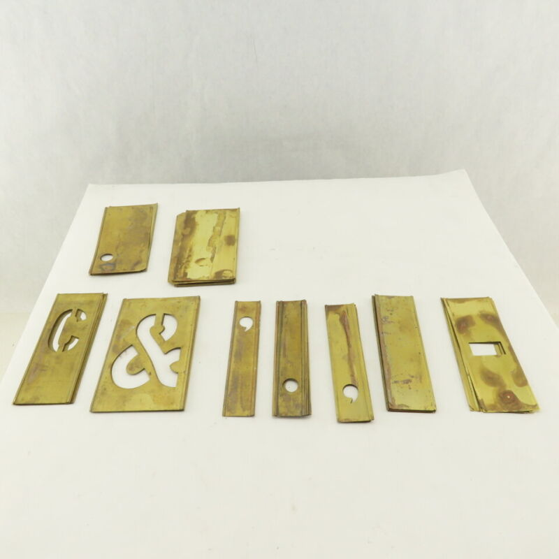 "Reece 93 4"" Brass Stencils Vintage Lockedge Alphabet Numbers Mixed Lot Used 100+"