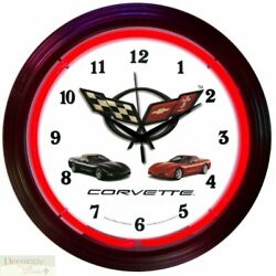 CORVETTE C5 Genuine Neon 15 Wall Clock Glass Face Chrome Finish US Warranty New