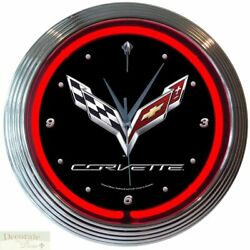 CORVETTE C7 Genuine Neon 15 Wall Clock Glass Face Chrome Finish US Warranty New