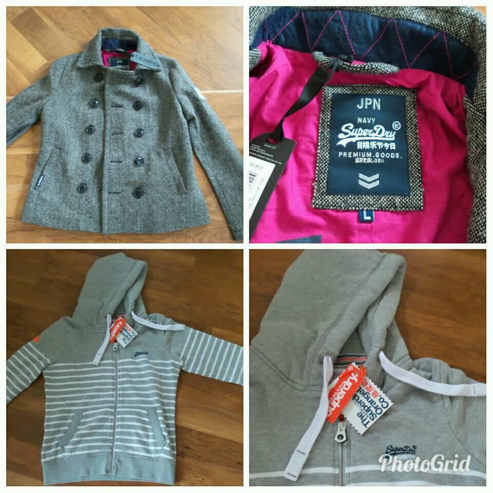 Superdry Coat Large & New Hoodie XL