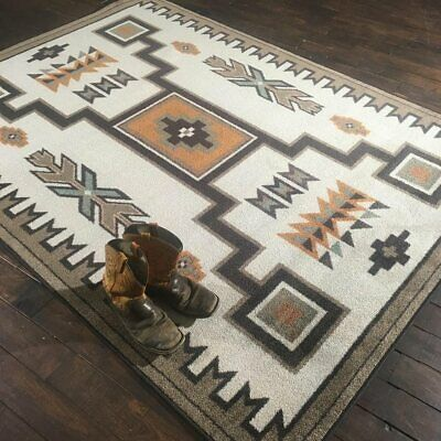 Old Crow Southwest Worn Saddle Rustic Lodge Nylon Country Cabin Rug 2'8