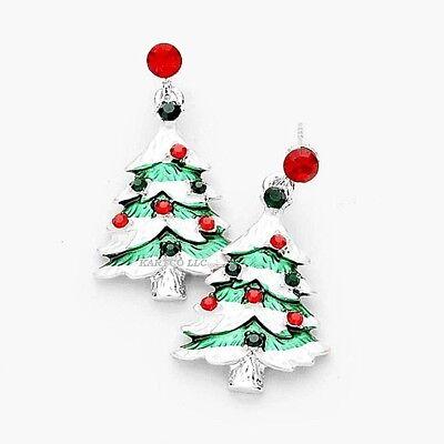 CRYSTAL EMBELLISHED CHRISTMAS TREE DANGLE EARRINGS-SIZE: MEDIUM