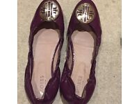 Stylish purple ballerinas by HOBBS, pure leather , size 8