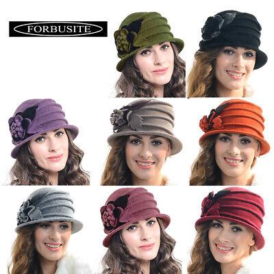 Women Wool Beret Church Cloche Bucket Hat Winter Warm Floral French Cap New C020 Bucket Church Hat
