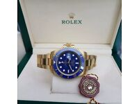 New Mens boxed gold Bracelet blue dial blue ceramic bezel K ONE Rolex submariner watch