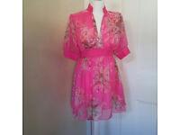 Prettly little pink floral dress in fuscia by Tsega UK size 12