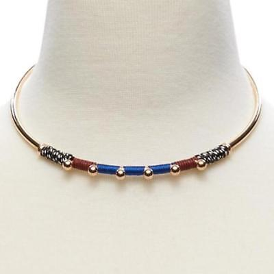 Banana Republic Navy Brown Wrapped Stud Choker Collar Necklace NWT 68.00 Brown Stud Necklace