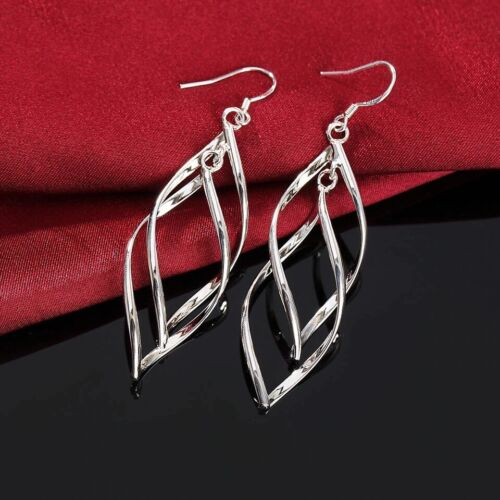 Womens 925 Sterling Silver Twist Spiral Long Drop Dangle Charm Earrings E36 Earrings
