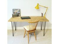 Large Industrial Style Wooden Desk Table with Hairpin Legs