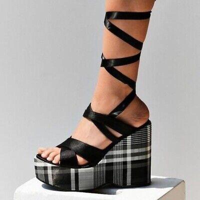 Intentionally Blank Classified Plaid Platform Sandals Black Lace Up SZ 6 36