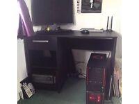 PC computer desk - small dark wood