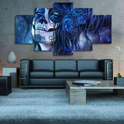 Blue Makeup Day of the Dead Face 5 Pcs Canvas Wall Decorating Home Decor Poster - Day Of The Dead Face Makeup