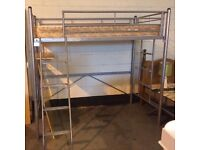 silver metal high sleeper with desk