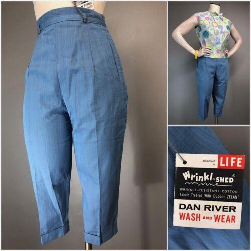 Vtg 50s Pants 60s Atomic Fleck High Waist Capris Cigarette Side Zip COTTON NOS