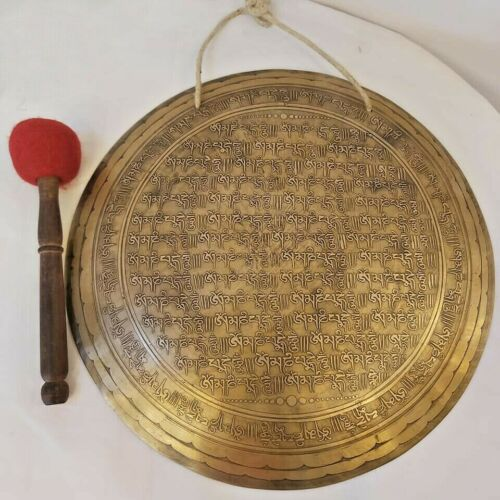 18 inches Mantra carved gong-Tibetan gong from Nepal-Temple gong-Nepal-Chakra