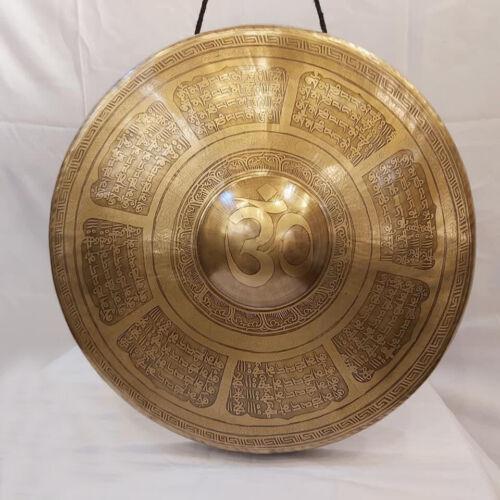 17 inches Diameter Mantra carved Burma Gong-Handmade Burma gong-Tibetan-Nepal